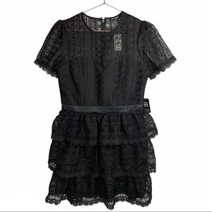 Express Lace Tiered Fit and Flare Dress Black
